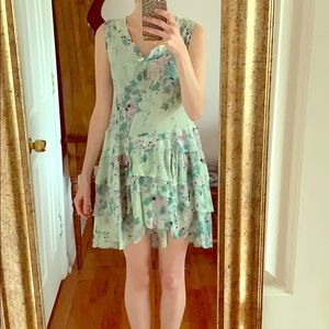 Maje Paris Silk Floral Ruffle Dress